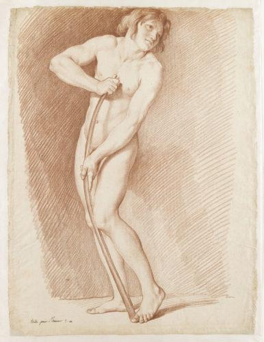 2_ Edme Bouchardon, Modèle posant pour L'Amour se faisant un arc de la massue d'Hercule