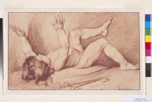 13_Edme Bouchardon. L'Automne: Enfant couché sur le dos, les bras levés