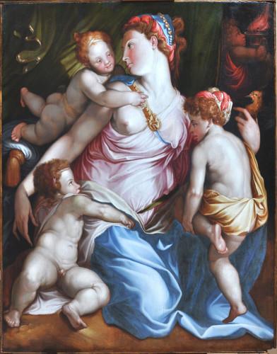 Francesco Salviati (atelier de), La Charité (XVIe siècle), huile sur bois © MP Barrat / Musée Jeanne d'Aboville
