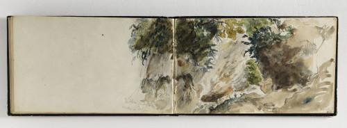 12_Eugène Delacroix, Carnet des Pyrénées, Torrent du Valentin dans la gorge de la villa Castellane, 1845, crayon graphite et aquarelle