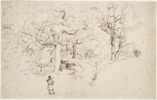 7_Camille Corot, Deux artistes sur le motif, graphite, plume et encre brune sur papier vergé