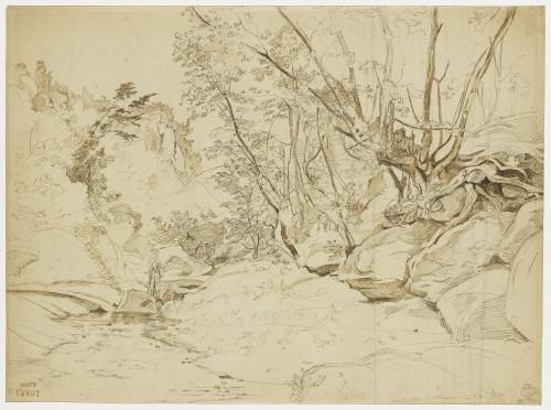6_Camille Corot, Ruisseau à Civita Castellana avec un artiste portant son matériel sur le dos, 1827