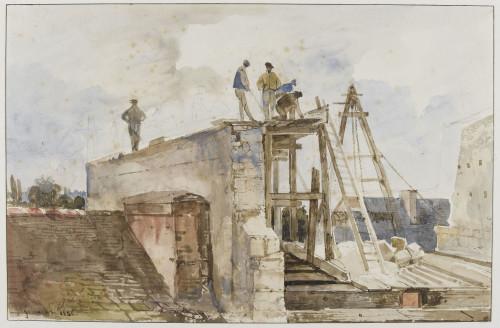 1_François Marius Granet, Travaux de construction sur un toit, vue d'une fenêtre, 1836