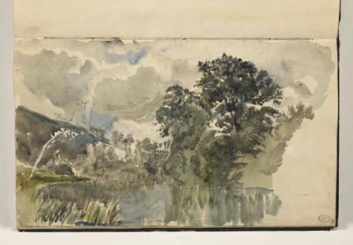 11_Paul Huet, Les Bords de l'Orne, près de Pont-des-Verres, album, 1860, traits de crayon noir et aquarelle