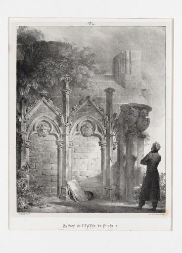 4_Godefroy Engelmann d'après Alexandre Evariste Fragonard, Ruines de l'église de Saint-Pierre de Jumièges