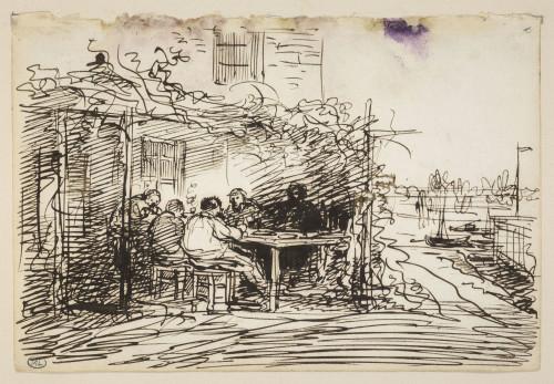 5_ Charles François Daubigny, Le déjeuner à Asnières, plume et encre brune (encre métallogallique) sur papier vergé satiné