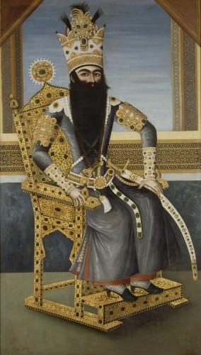 Attribué à Mihr Ali, Portrait de Fath Ali Shah © RMN-GP (musée du Louvre) / Hervé Lewandowski