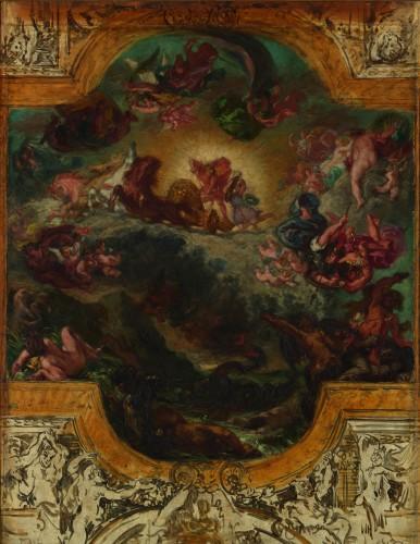 14_Eugène Delacroix, Apollon vainqueur du serpent Python (Esquisse pour le plafond de la galerie d'Apollon)-tif
