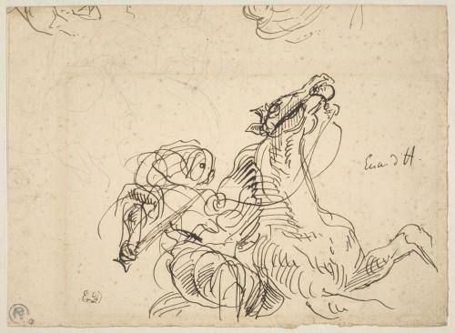 Eugène Delacroix, Etude pour Héliodore chassé du Temple © RMN - Grand Palais (musée du Louvre) / Adrien Didierjean