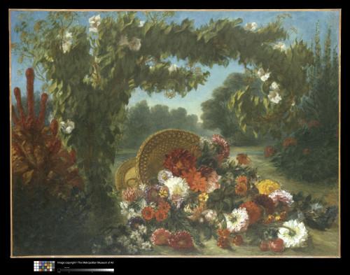 18_Eugène Delacroix, Corbeille de fleurs renversée dans un jardin-jpg