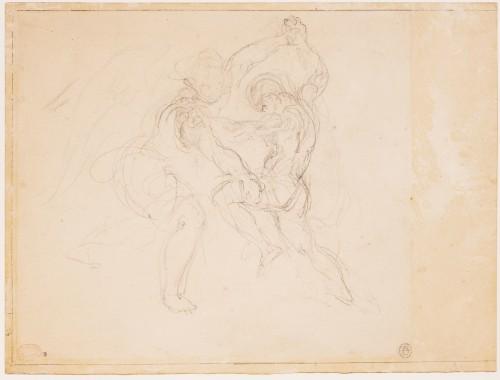 Etude pour la lutte de Jacob et de l'ange Eugene Delacroix - RMN-Grand Palais musee du Louvre  Herve Lewandowski-jpg