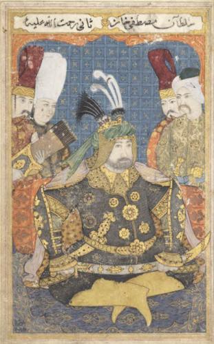 Portait du Sultan Mustafa II-  Empire Ottoman 18e siecle- h 232 x l 14cmMAO 2009-png