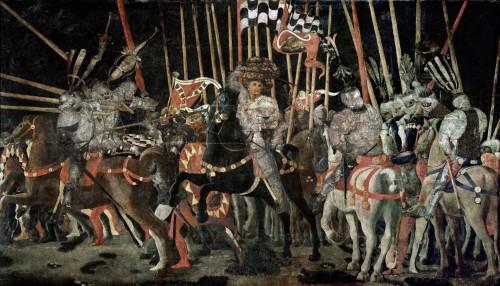 17. Paolo di Dono, dit Uccello, La Bataille de San Romano  la contre-attaque de Micheletto da Cotignola. , Vers 1435 - 1440, Paris, musée du Louvre, département des Peintures, M.I. 469