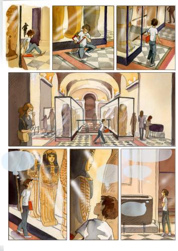 12- Isabelle Dethan, Gaspard et la malédiction du prince fantôme ©  Isabelle Dethan – Editions Delcourt – Musée du Louvre Editions 2017
