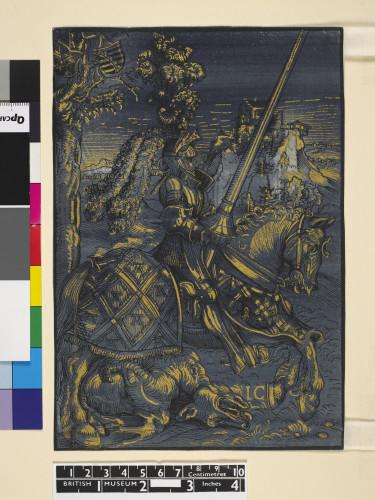 2- Lucas Cranach_Saint Georges à cheval gravure avec bois de trait et bois imprime à l'or sur papier bleu Londres British Museum  1895-jpg