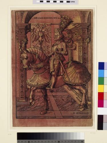 3- Hans Burgkmair_L'Empereur Maximilien à cheval 1507-1508 – Gravure avec un bois de trait et un bois imprimé à l'or et à l'argent sur papier coloré rouge- Oxford-jpg