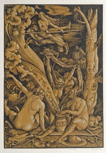 5- Hans Baldung Grien_Sabbat des sorcieres gravure en deux bois tirage en orange Paris Bibliotheque nationale de France-jpg