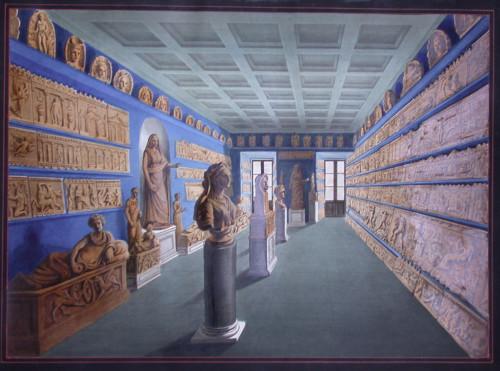 Salle des terres cuites du musée Campana au mont-de-piété, planche aquarellée in dans G. Campana,