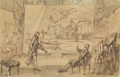 Un peintre présentant à l'abbé Terray un tableau de l'allégorie du dégagement de la colonnade du Louvre, 1773, pierre noire, plume, encre brune, lavis gris  © 2018 musée du Louvre/ Philippe Fuzeau