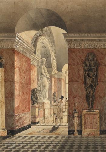 Bonaventure Amable Ravoisié (1801 – 1867)), La salle de Melpomène au Louvre, avant 1829, mine de plomb, plume et encre noire, aquarelle, rehaussé de gomme arabique  © 2018 musée du Louvre/ Philippe Fuzeau