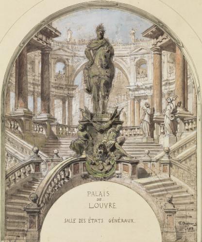 Philippe Chaperon (1823 – 1906 ). Un projet pour la Salle des Etats du palais du Louvre: un empereur à cheval sur un piédestal avec des esclaves sur un escalier à double révélation devant un portique, 1858, mine de plomb, pierre noire, lavis brun, aquarelle, gouache