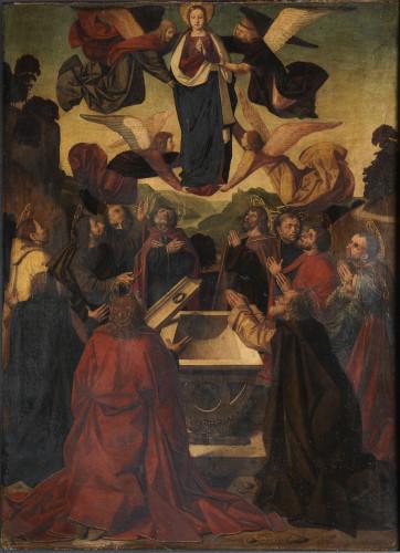 Atelier de Josse Lieferinxe ou de Jean de Changenet, Assomption de la Vierge, recto. Bois (noyer). H. 82,8 cm ; l. 61,1 cm. Paris, musée du Louvre © Musée du Louvre / Philippe Fuzeau