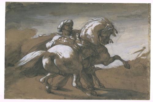 Théodore Géricault, Mamelouk retenant son cheval, département des Arts graphiques, musée du Louvre © RMN-Grand Palais (musée du Louvre) / Daniel Arnaudet