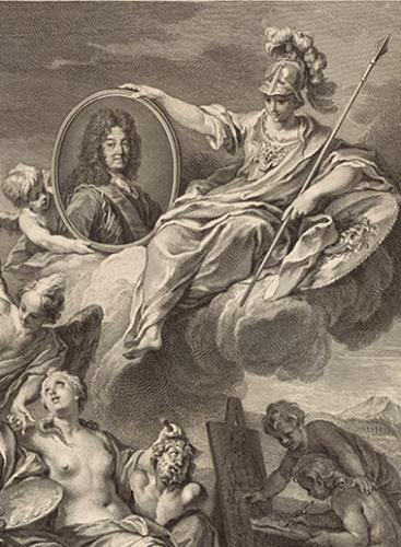 Henri Simon Thomassin d'après Louis de Boullogne, Louis XIV protégeant les Arts (détail), 1728 © BnF