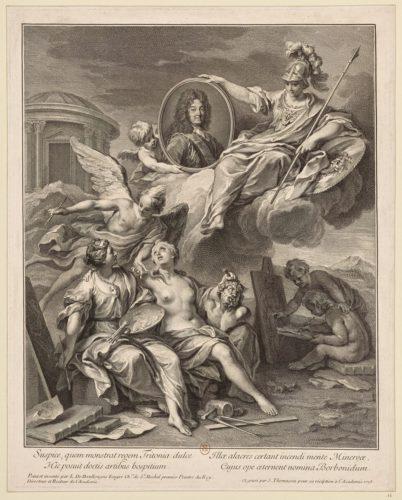 1- Henri Simon Thomassin d'après Louis de Boullogne, Louis XIV protégeant les Arts 1728, Eau-forte et burin, Paris Bibliotheque nationale de France-jpg