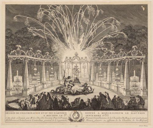 5- Charles Nicolas Cochin fils, Dessein de l'illumination et du  Feu d'Artifice Donne a Monseigneur le Dauphin  Le 3-e Septembre 1735 1737-jpg