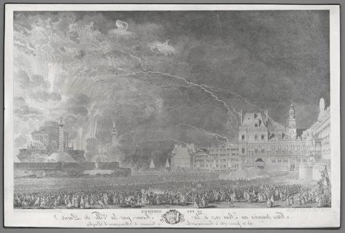 9- Jean Michel Moreau le Jeune, Le feu d'artifice 1782, Eau-forte et burin sur cuivre aciéré, Paris, musée du Louvre-jpg