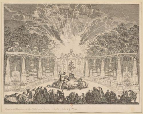 4- Charles Nicolas Cochin fils, Dessein de l'illumination et du  Feu d'Artifice Donné a Monseigneur le Dauphin  Le 3-e  Septembre 1735, 1737, Eau-forte pure-jpg