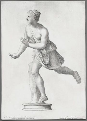 6- Claude Mellan, Statue en marbre d'une jeune chasseresse 1671, Burin sur cuivre aciéré, Paris, musée du Louvre-jpg