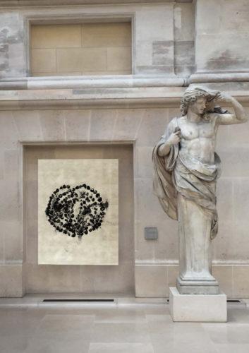 Jean-Michel Othoniel, La Rose du Louvre, 2019. Simulation de l'installation en cour Puget © 2019 musée du Louvre / Antoine Mongodin