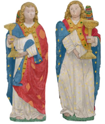 Statues danges porte-flambeaux reconstitution de la polychromie  Marta Garcia-Darowska-PNG
