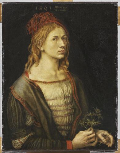 5. Albrecht Dürer, Portrait de l'artiste tenant un chardon, 1493 © RMN-Grand Palais (musée du Louvre) / Thierry Ollivier