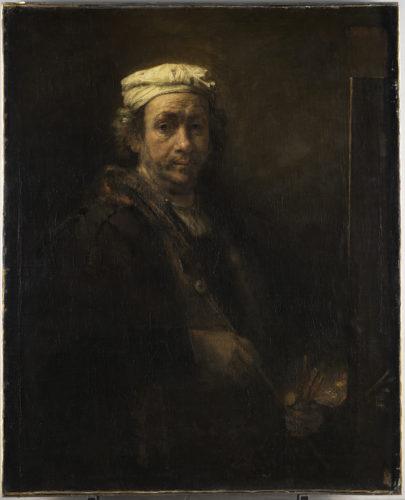 6. Harmensz. Van Rijn, dit Rembrandt, Portrait de l'artiste au chevalet, 1660 © RMN-Grand Palais (musée du Louvre) / Tony Querrec