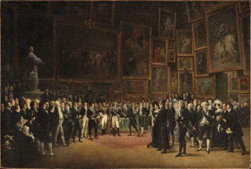 13. François-Joseph Heim, Charles X (1824-1830) distribuant des récompenses aux artistes exposants du Salon de 1824 au Louvre, le 15 janvier 1825, 1825, Salon de 1827 © RMN-Grand Palais (musée du Louvre) / Philippe Fuzeau