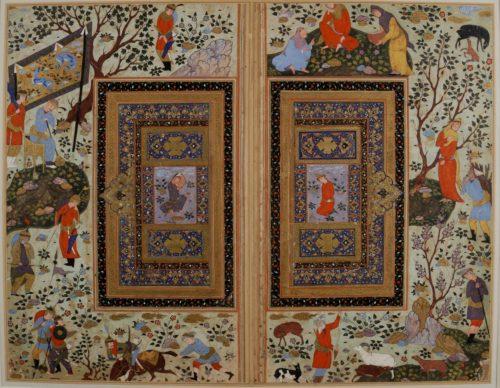 Double page d'album. Iran, Isfahan, début du XVIIe siècle. Paris, musée du Louvre, département des Arts de l'Islam, legs Georges Marteau 1916 © 2007 Musée du Louvre / Claire Tabbagh