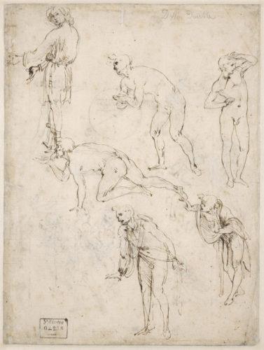 5. Léonard de Vinci, Études de personnages pour l'Adoration des Mages (verso) © RMN-Grand Palais (musée du Louvre) / Michel Urtado