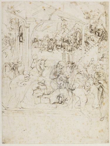 6. Léonard de Vinci, Étude de composition pour l'Adoration des Mages © RMN-Grand Palais (musée du Louvre) / Michel Urtado