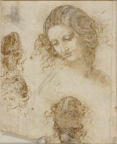 19. Léonard de Vinci, Études pour la tête de Léda. Royal Collection Trust / © Her Majesty Queen Elizabeth II 2019