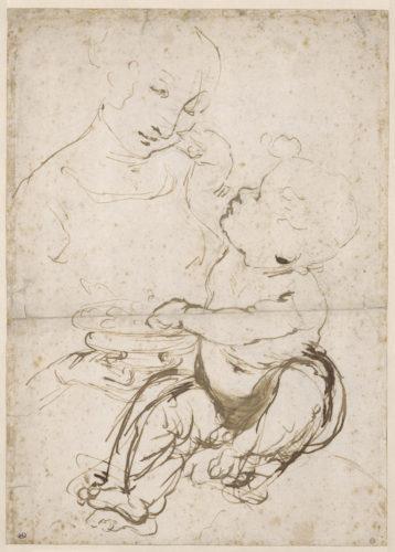 3. Léonard de Vinci, Étude de Vierge à l'Enfant, dite Madone aux fruits © RMN-Grand Palais (musée du Louvre) / Michel Urtado
