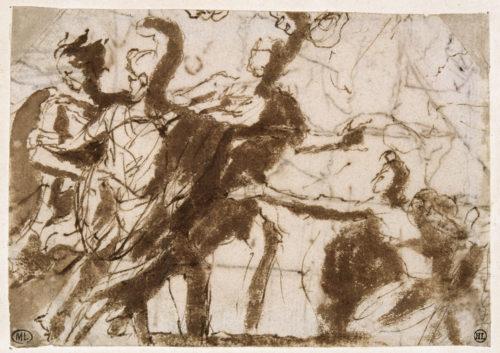 5. Nicolas Poussin (1594-1665), Renaud abandonnant Armide, plume et encre brune, lavis brun, Paris, musée du Louvre, © RMN-Grand Palais (musée du Louvre) / Michèle Bellot.