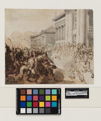 4. Théodore Géricault (1791-1824), Louis XVIII passant une revue au Champ-de-Mars. Paris, musée du Louvre, © Lyon MBA - Photo Martial Couderette.