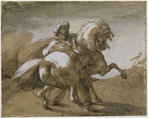 1. Théodore Géricault (1791-1824), Mameluck retenant un cheval, département des Arts graphiques, musée du Louvre © RMN-Grand Palais (musée du Louvre) / Daniel Arnaudet.