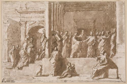 6. Nicolas Poussin (1594-1665), Le Mariage de la Vierge, plume et encre brune, lavis brun. Paris, musée du Louvre © RMN-Grand Palais (musée du Louvre) / Michèle Bellot.
