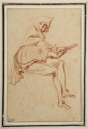 8. Antoine Watteau (1684-1721), Guitariste assis, Paris, musée du Louvre, © Musée des Beaux-arts et de la Dentelle, Alençon.