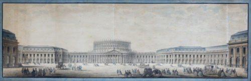 1- Aquerelle d'un projet d'élévation d'un Opera et place Louis-XVI au Carrousel- Ecole francais (c) AZUR Encheres-jpg