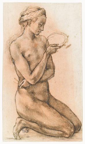 9- Michel-Ange- Femme nue agenouillee tenant une couronne et des clous- Paris musee du Louvre  RMN Grand Palais Musee du Louvre Thierry le Mage-jpg